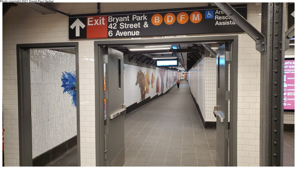 (324k, 1220x695)<br><b>Country:</b> United States<br><b>City:</b> New York<br><b>System:</b> New York City Transit<br><b>Line:</b> IRT Times Square-Grand Central Shuttle<br><b>Location:</b> Times Square<br><b>Photo by:</b> David-Paul Gerber<br><b>Date:</b> 9/7/2021<br><b>Artwork:</b> <i>Every One - Each One - Equal All</i>, Nick Cave, 2021<br><b>Notes:</b> New connecting passageway to 42nd St-Bryant Park station on the IND 6th Ave line.<br><b>Viewed (this week/total):</b> 100 / 350