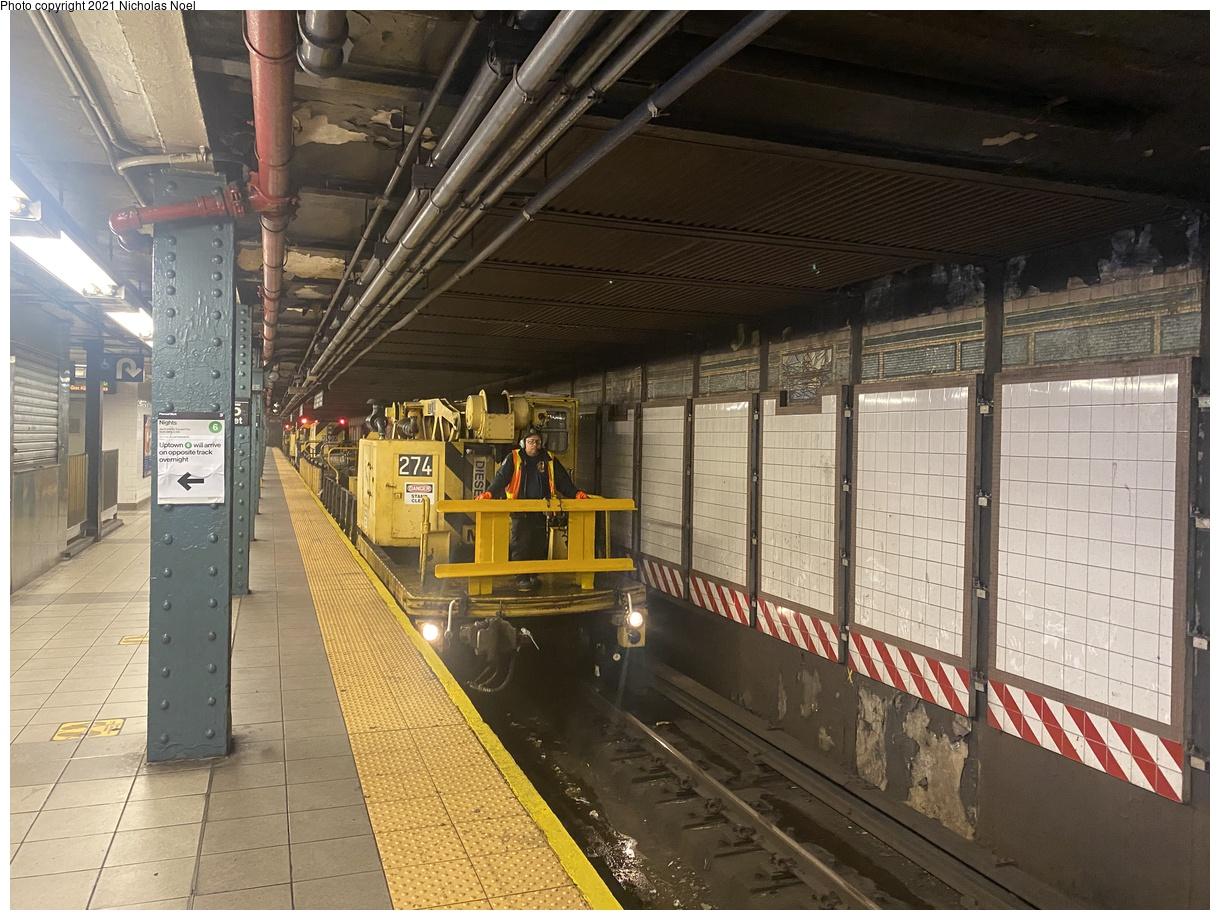 (441k, 1220x920)<br><b>Country:</b> United States<br><b>City:</b> New York<br><b>System:</b> New York City Transit<br><b>Line:</b> IRT East Side Line<br><b>Location:</b> 125th Street<br><b>Route:</b> Work Service<br><b>Car:</b> R-102 Crane Car 274 <br><b>Photo by:</b> Nicholas Noel<br><b>Date:</b> 6/8/2021<br><b>Viewed (this week/total):</b> 6 / 33