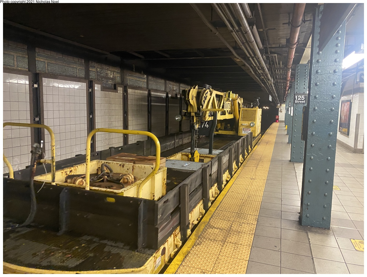 (432k, 1220x920)<br><b>Country:</b> United States<br><b>City:</b> New York<br><b>System:</b> New York City Transit<br><b>Line:</b> IRT East Side Line<br><b>Location:</b> 125th Street<br><b>Route:</b> Work Service<br><b>Car:</b> R-102 Crane Car 274 <br><b>Photo by:</b> Nicholas Noel<br><b>Date:</b> 6/8/2021<br><b>Viewed (this week/total):</b> 3 / 29