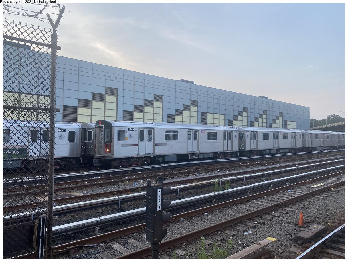 (431k, 1220x920)<br><b>Country:</b> United States<br><b>City:</b> New York<br><b>System:</b> New York City Transit<br><b>Location:</b> East 180th Street Yard<br><b>Car:</b> R-142 (Primary Order, Bombardier, 1999-2002) 6875 <br><b>Photo by:</b> Nicholas Noel<br><b>Date:</b> 7/15/2021<br><b>Viewed (this week/total):</b> 7 / 56