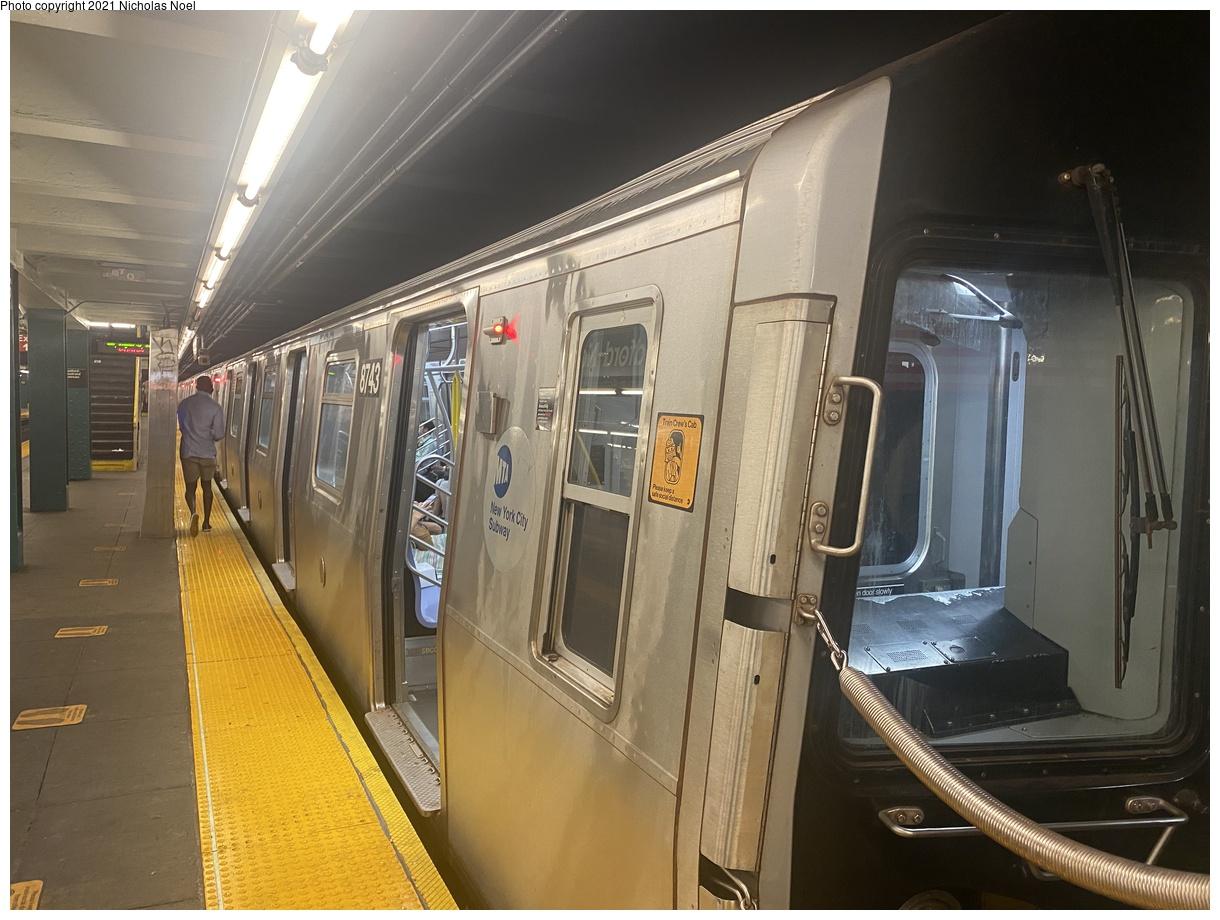 (364k, 1220x920)<br><b>Country:</b> United States<br><b>City:</b> New York<br><b>System:</b> New York City Transit<br><b>Line:</b> IND Crosstown Line<br><b>Location:</b> Bedford/Nostrand Aves.<br><b>Route:</b> G<br><b>Car:</b> R-160B (Kawasaki, 2005-2008) 8743 <br><b>Photo by:</b> Nicholas Noel<br><b>Date:</b> 8/14/2021<br><b>Viewed (this week/total):</b> 6 / 55