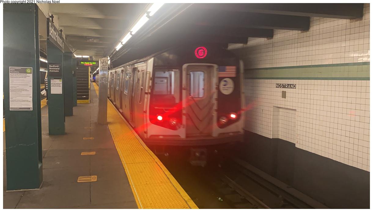 (225k, 1220x695)<br><b>Country:</b> United States<br><b>City:</b> New York<br><b>System:</b> New York City Transit<br><b>Line:</b> IND Crosstown Line<br><b>Location:</b> Bedford/Nostrand Aves.<br><b>Route:</b> G<br><b>Car:</b> R-160A (Option 1) (Alstom, 2008-2009, 5 car sets) 9522 <br><b>Photo by:</b> Nicholas Noel<br><b>Date:</b> 8/14/2021<br><b>Viewed (this week/total):</b> 3 / 28