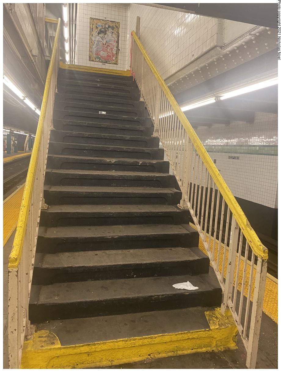 (434k, 920x1220)<br><b>Country:</b> United States<br><b>City:</b> New York<br><b>System:</b> New York City Transit<br><b>Line:</b> IND Crosstown Line<br><b>Location:</b> Bedford/Nostrand Aves.<br><b>Photo by:</b> Nicholas Noel<br><b>Date:</b> 8/14/2021<br><b>Notes:</b> Stairway to mezzanine<br><b>Viewed (this week/total):</b> 11 / 70