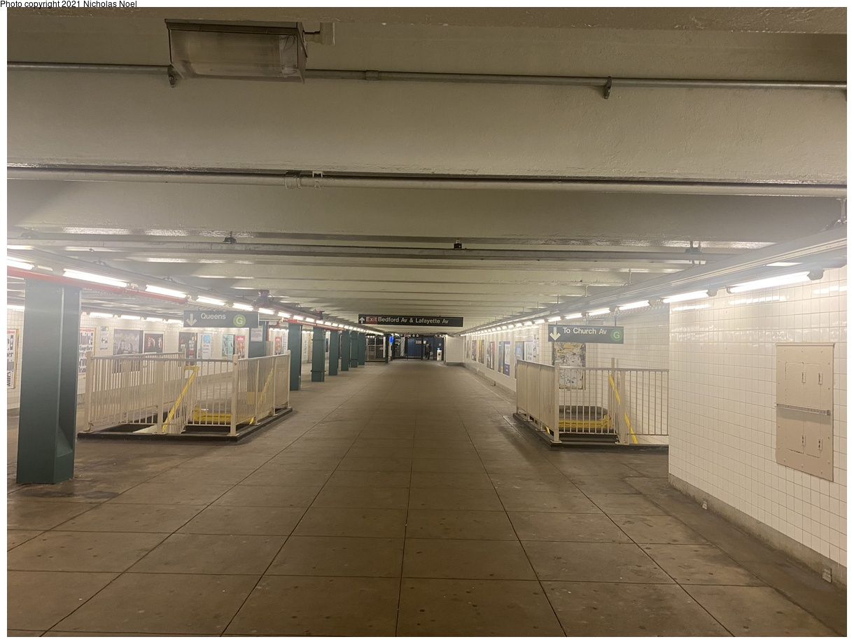 (328k, 1220x920)<br><b>Country:</b> United States<br><b>City:</b> New York<br><b>System:</b> New York City Transit<br><b>Line:</b> IND Crosstown Line<br><b>Location:</b> Bedford/Nostrand Aves.<br><b>Photo by:</b> Nicholas Noel<br><b>Date:</b> 8/14/2021<br><b>Notes:</b> Mezzanine<br><b>Viewed (this week/total):</b> 12 / 62