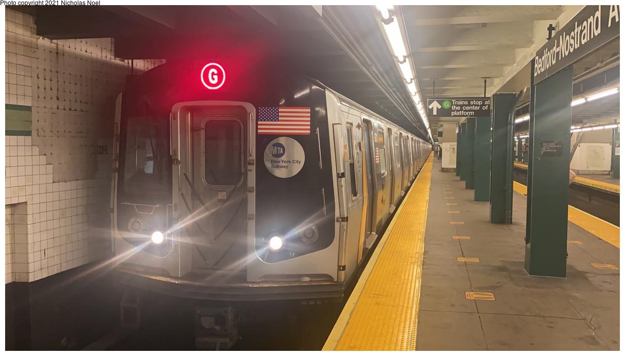 (242k, 1220x695)<br><b>Country:</b> United States<br><b>City:</b> New York<br><b>System:</b> New York City Transit<br><b>Line:</b> IND Crosstown Line<br><b>Location:</b> Bedford/Nostrand Aves.<br><b>Route:</b> G<br><b>Car:</b> R-160A (Option 2) (Alstom, 2009, 5-car sets) 9733 <br><b>Photo by:</b> Nicholas Noel<br><b>Date:</b> 8/14/2021<br><b>Viewed (this week/total):</b> 8 / 44