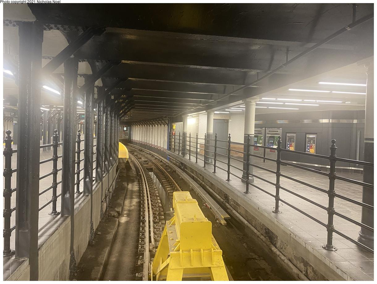 (400k, 1220x920)<br><b>Country:</b> United States<br><b>City:</b> New York<br><b>System:</b> New York City Transit<br><b>Line:</b> IRT Times Square-Grand Central Shuttle<br><b>Location:</b> Times Square<br><b>Photo by:</b> Nicholas Noel<br><b>Date:</b> 9/8/2021<br><b>Notes:</b> Renovated shuttle station - track 1<br><b>Viewed (this week/total):</b> 9 / 63