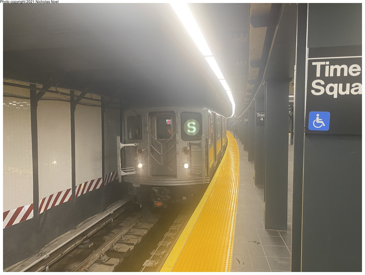 (287k, 1220x920)<br><b>Country:</b> United States<br><b>City:</b> New York<br><b>System:</b> New York City Transit<br><b>Line:</b> IRT Times Square-Grand Central Shuttle<br><b>Location:</b> Times Square<br><b>Route:</b> S<br><b>Car:</b> R-62A (Bombardier, 1984-1987)  <br><b>Photo by:</b> Nicholas Noel<br><b>Date:</b> 9/8/2021<br><b>Notes:</b> Renovated shuttle station.<br><b>Viewed (this week/total):</b> 8 / 41