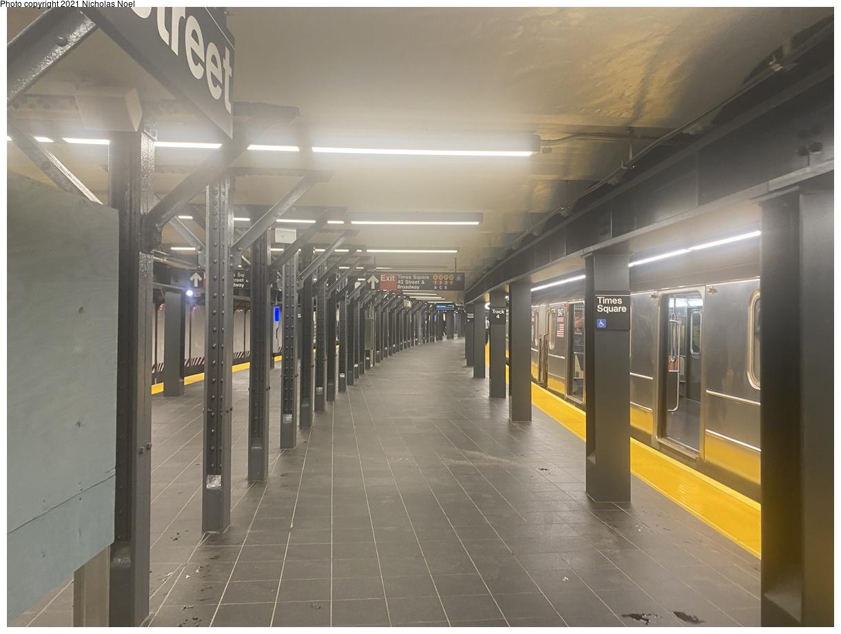 (307k, 1220x920)<br><b>Country:</b> United States<br><b>City:</b> New York<br><b>System:</b> New York City Transit<br><b>Line:</b> IRT Times Square-Grand Central Shuttle<br><b>Location:</b> Times Square<br><b>Photo by:</b> Nicholas Noel<br><b>Date:</b> 9/8/2021<br><b>Notes:</b> Renovated shuttle station.<br><b>Viewed (this week/total):</b> 10 / 48
