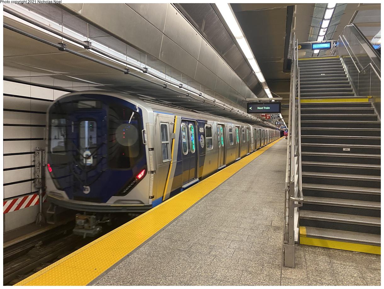 (473k, 1220x920)<br><b>Country:</b> United States<br><b>City:</b> New York<br><b>System:</b> New York City Transit<br><b>Line:</b> 2nd Avenue Subway<br><b>Location:</b> 96th Street<br><b>Route:</b> Testing<br><b>Car:</b> R-211 (Kawasaki, 2021-) 4060 <br><b>Photo by:</b> Nicholas Noel<br><b>Date:</b> 9/29/2021<br><b>Viewed (this week/total):</b> 7 / 50