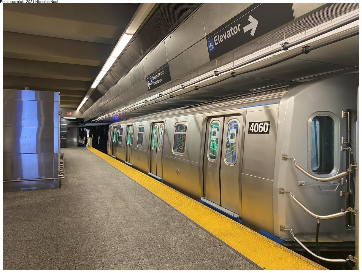 (439k, 1220x920)<br><b>Country:</b> United States<br><b>City:</b> New York<br><b>System:</b> New York City Transit<br><b>Line:</b> 2nd Avenue Subway<br><b>Location:</b> 96th Street<br><b>Route:</b> Testing<br><b>Car:</b> R-211 (Kawasaki, 2021-) 4060 <br><b>Photo by:</b> Nicholas Noel<br><b>Date:</b> 9/29/2021<br><b>Viewed (this week/total):</b> 8 / 56
