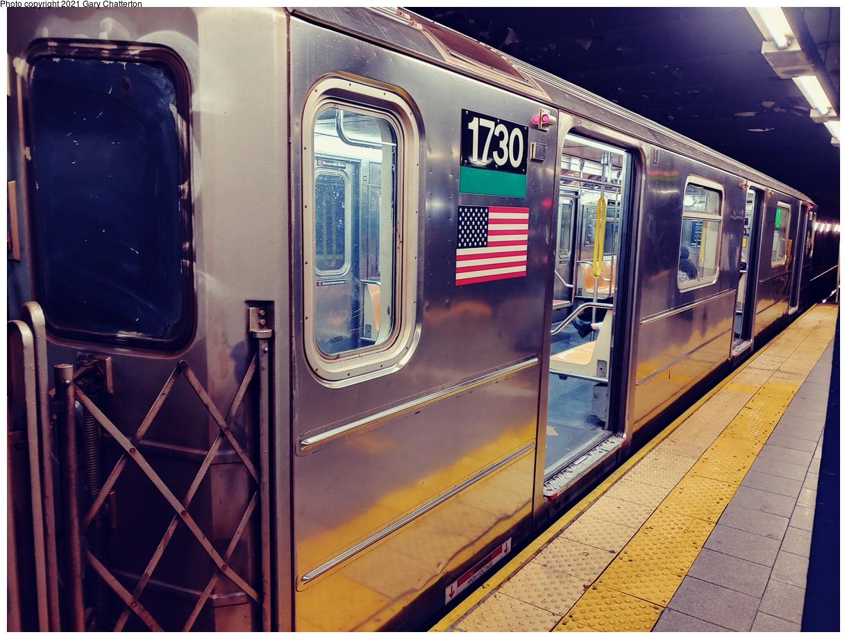 (1140k, 1220x920)<br><b>Country:</b> United States<br><b>City:</b> New York<br><b>System:</b> New York City Transit<br><b>Line:</b> IRT East Side Line<br><b>Location:</b> Brooklyn Bridge/City Hall<br><b>Route:</b> 6<br><b>Car:</b> R-62A (Bombardier, 1984-1987) 1730 <br><b>Photo by:</b> Gary Chatterton<br><b>Date:</b> 9/16/2021<br><b>Viewed (this week/total):</b> 11 / 48