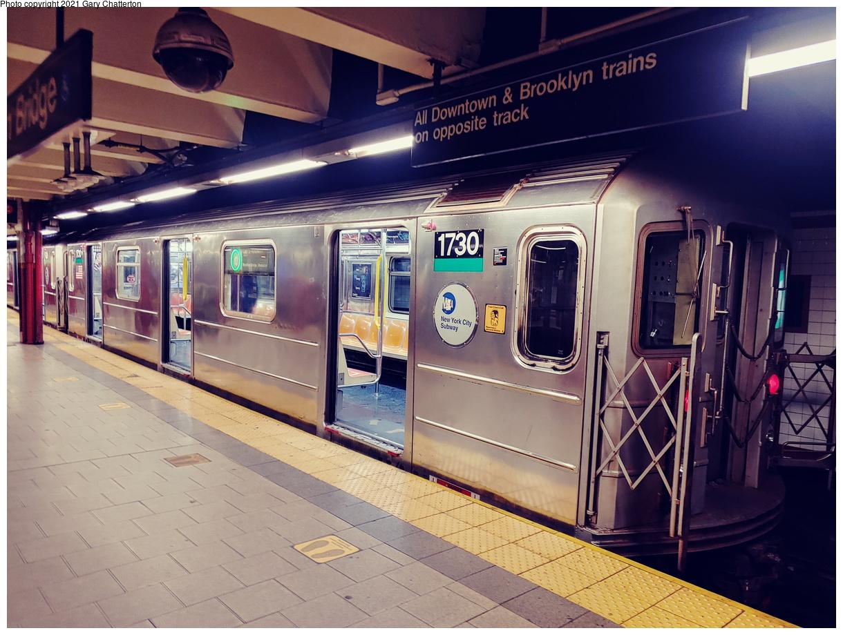 (1107k, 1220x920)<br><b>Country:</b> United States<br><b>City:</b> New York<br><b>System:</b> New York City Transit<br><b>Line:</b> IRT East Side Line<br><b>Location:</b> Brooklyn Bridge/City Hall<br><b>Route:</b> 6<br><b>Car:</b> R-62A (Bombardier, 1984-1987) 1730 <br><b>Photo by:</b> Gary Chatterton<br><b>Date:</b> 9/16/2021<br><b>Viewed (this week/total):</b> 4 / 42