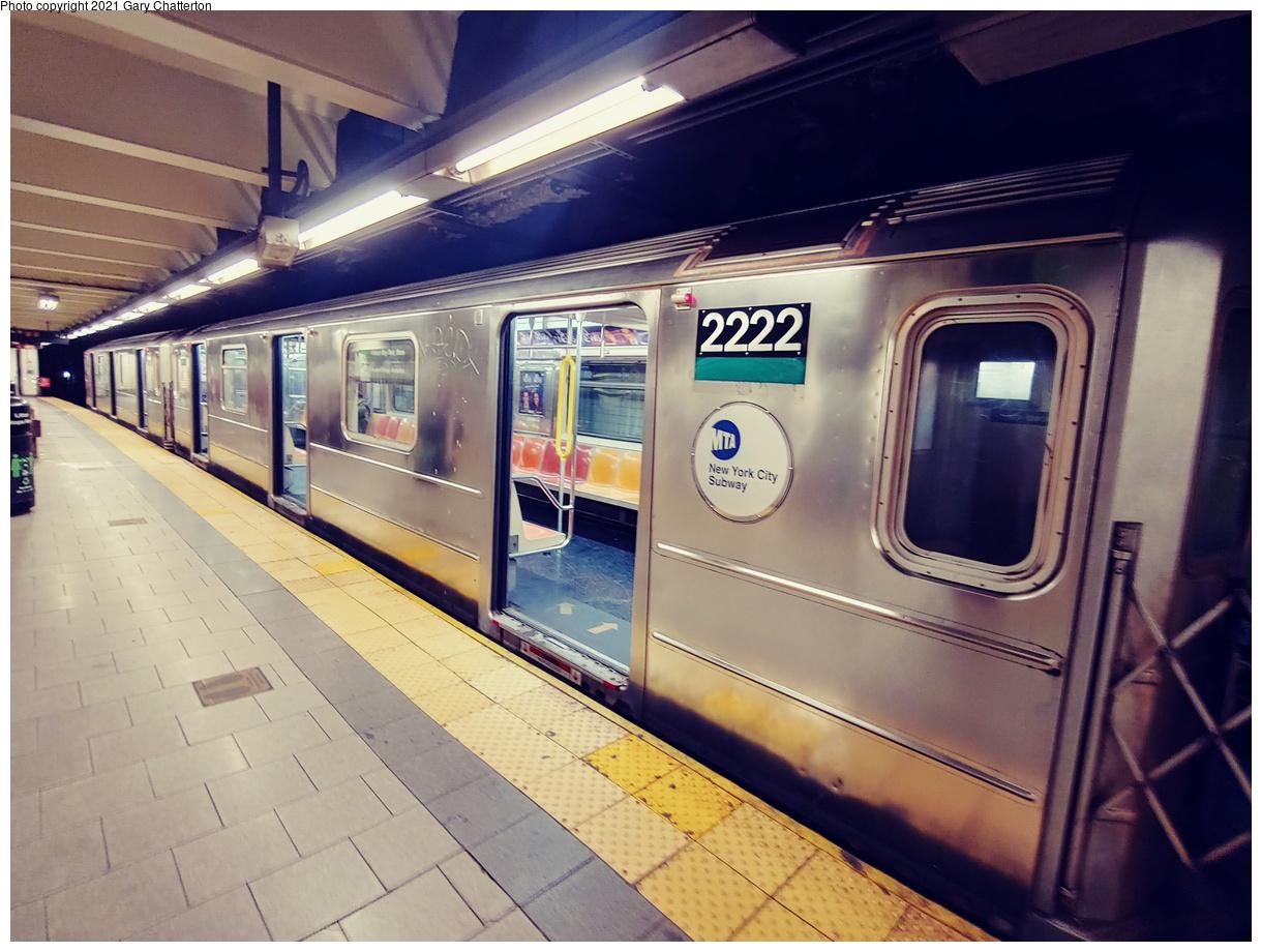 (1081k, 1220x920)<br><b>Country:</b> United States<br><b>City:</b> New York<br><b>System:</b> New York City Transit<br><b>Line:</b> IRT East Side Line<br><b>Location:</b> Brooklyn Bridge/City Hall<br><b>Route:</b> 6<br><b>Car:</b> R-62A (Bombardier, 1984-1987) 2222 <br><b>Photo by:</b> Gary Chatterton<br><b>Date:</b> 9/16/2021<br><b>Viewed (this week/total):</b> 6 / 46