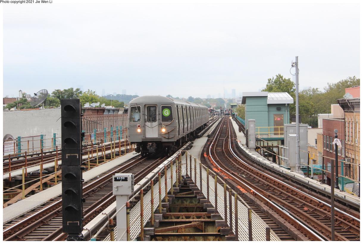 (444k, 1220x820)<br><b>Country:</b> United States<br><b>City:</b> New York<br><b>System:</b> New York City Transit<br><b>Line:</b> BMT Culver Line<br><b>Location:</b> 18th Avenue<br><b>Route:</b> G<br><b>Car:</b> R-68A (Kawasaki, 1988-1989) 5066 <br><b>Photo by:</b> Jie Wen Li<br><b>Date:</b> 9/17/2021<br><b>Notes:</b> Extended to 18 Av due to work at Church Av yard.<br><b>Viewed (this week/total):</b> 7 / 55