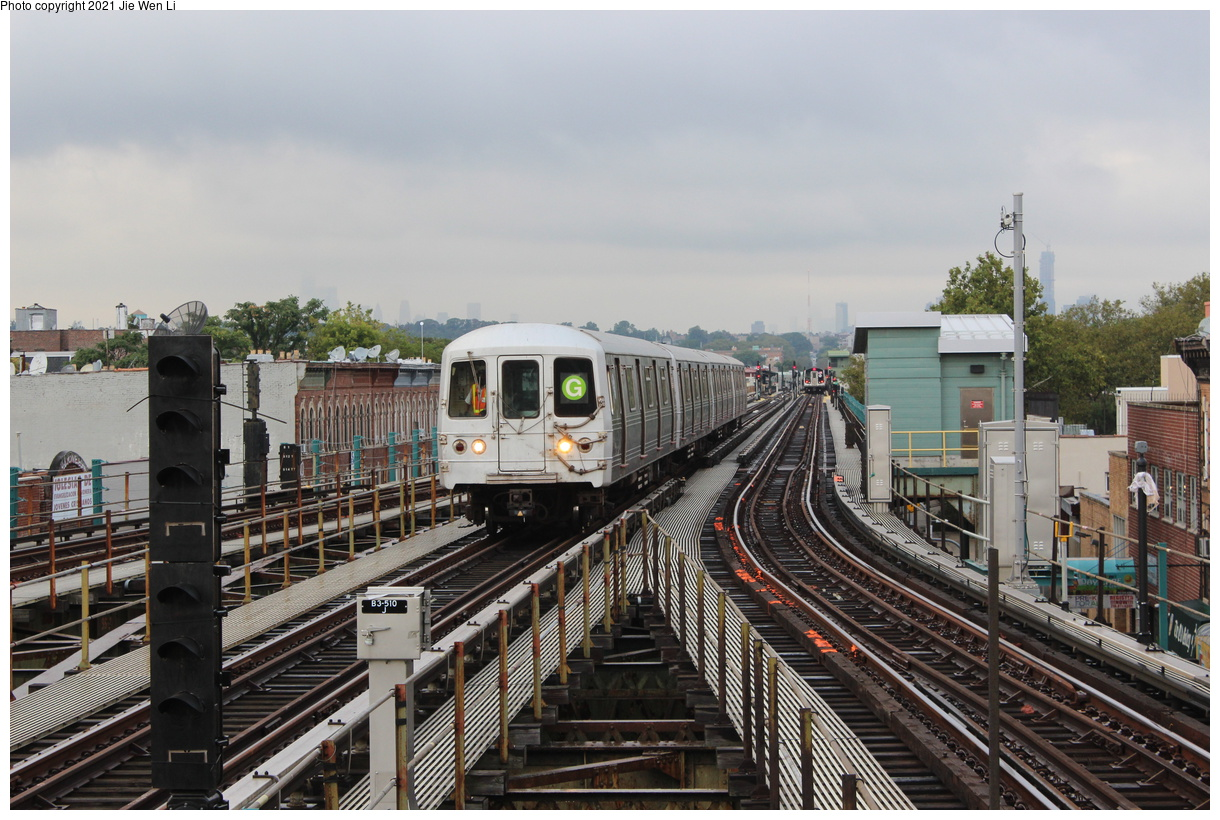 (427k, 1220x820)<br><b>Country:</b> United States<br><b>City:</b> New York<br><b>System:</b> New York City Transit<br><b>Line:</b> BMT Culver Line<br><b>Location:</b> 18th Avenue<br><b>Route:</b> G<br><b>Car:</b> R-46 (Pullman-Standard, 1974-75) 5836 <br><b>Photo by:</b> Jie Wen Li<br><b>Date:</b> 9/17/2021<br><b>Notes:</b> Extended to 18 Av due to work at Church Av yard.<br><b>Viewed (this week/total):</b> 12 / 69