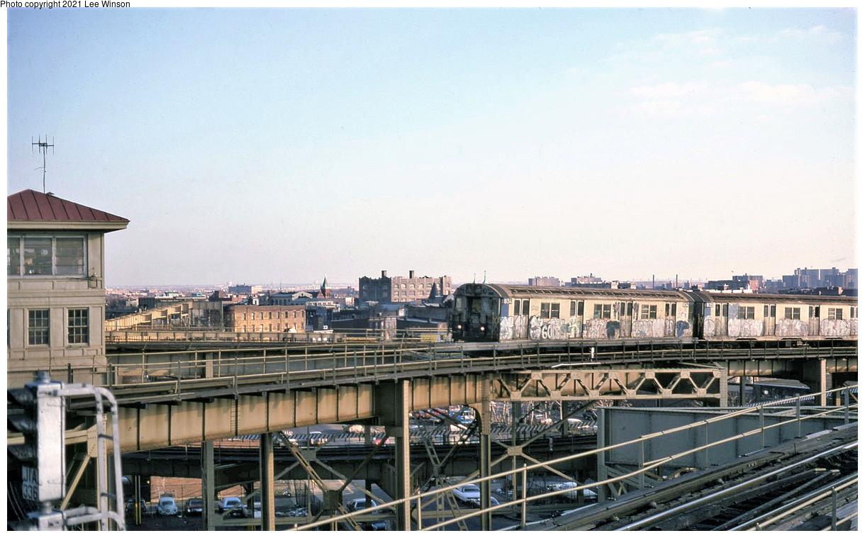 (417k, 1220x759)<br><b>Country:</b> United States<br><b>City:</b> New York<br><b>System:</b> New York City Transit<br><b>Line:</b> BMT Canarsie Line<br><b>Location:</b> Broadway Junction<br><b>Route:</b> LL<br><b>Car:</b> R-27 (St. Louis, 1960) 8134 <br><b>Photo by:</b> Lee Winson<br><b>Date:</b> 1/1979<br><b>Viewed (this week/total):</b> 51 / 331