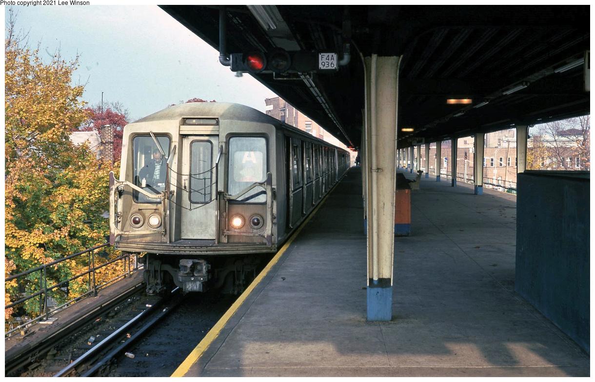 (455k, 1220x783)<br><b>Country:</b> United States<br><b>City:</b> New York<br><b>System:</b> New York City Transit<br><b>Line:</b> IND Rockaway Line<br><b>Location:</b> Mott Avenue/Far Rockaway<br><b>Route:</b> A<br><b>Car:</b> R-40 (St. Louis, 1968)  <br><b>Photo by:</b> Lee Winson<br><b>Date:</b> 11/1978<br><b>Viewed (this week/total):</b> 34 / 284