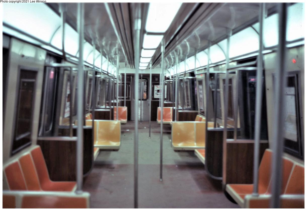 (264k, 1220x840)<br><b>Country:</b> United States<br><b>City:</b> New York<br><b>System:</b> New York City Transit<br><b>Line:</b> SIRT<br><b>Location:</b> St. George<br><b>Car:</b> R-44 SIRT (St. Louis, 1971-1973)  <br><b>Photo by:</b> Lee Winson<br><b>Date:</b> 2/1979<br><b>Notes:</b> SIRT R-44 interior.<br><b>Viewed (this week/total):</b> 1 / 480