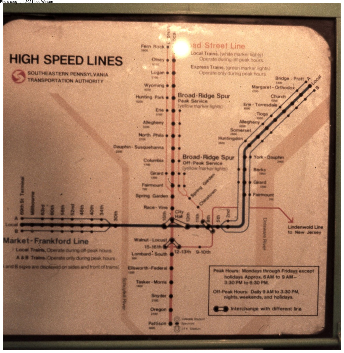(498k, 1192x1220)<br><b>Country:</b> United States<br><b>City:</b> Philadelphia, PA<br><b>System:</b> SEPTA (or Predecessor)<br><b>Line:</b> Broad Street Subway<br><b>Location:</b> Broad Street Subway-Rolling Stock Interiors<br><b>Photo by:</b> Lee Winson<br><b>Date:</b> 3/1982<br><b>Notes:</b> Graphic style rapid-transit map in use at SEPTA in March 1982.  Shows now closed Ridge Ave-Spring Garden Station, former MFSE Fairmount Station, and discontinued MFSE A/B service.<br><b>Viewed (this week/total):</b> 5 / 38