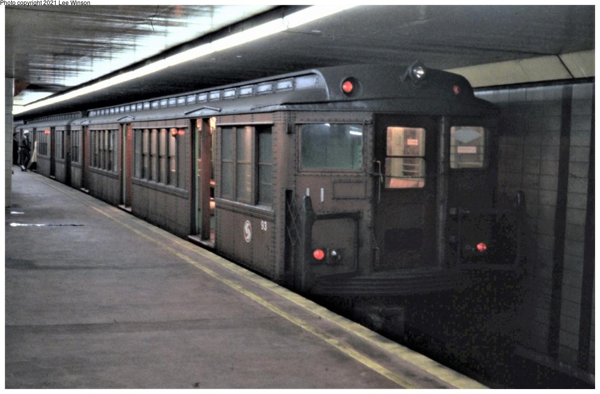 (308k, 1220x801)<br><b>Country:</b> United States<br><b>City:</b> Philadelphia, PA<br><b>System:</b> SEPTA (or Predecessor)<br><b>Line:</b> Broad Street Subway<br><b>Location:</b> Oregon<br><b>Car:</b> PTC/SEPTA B-1 Broad Street (J.G. Brill, 1927-1928) 93 <br><b>Photo by:</b> Lee Winson<br><b>Date:</b> 3/1982<br><b>Viewed (this week/total):</b> 1 / 38