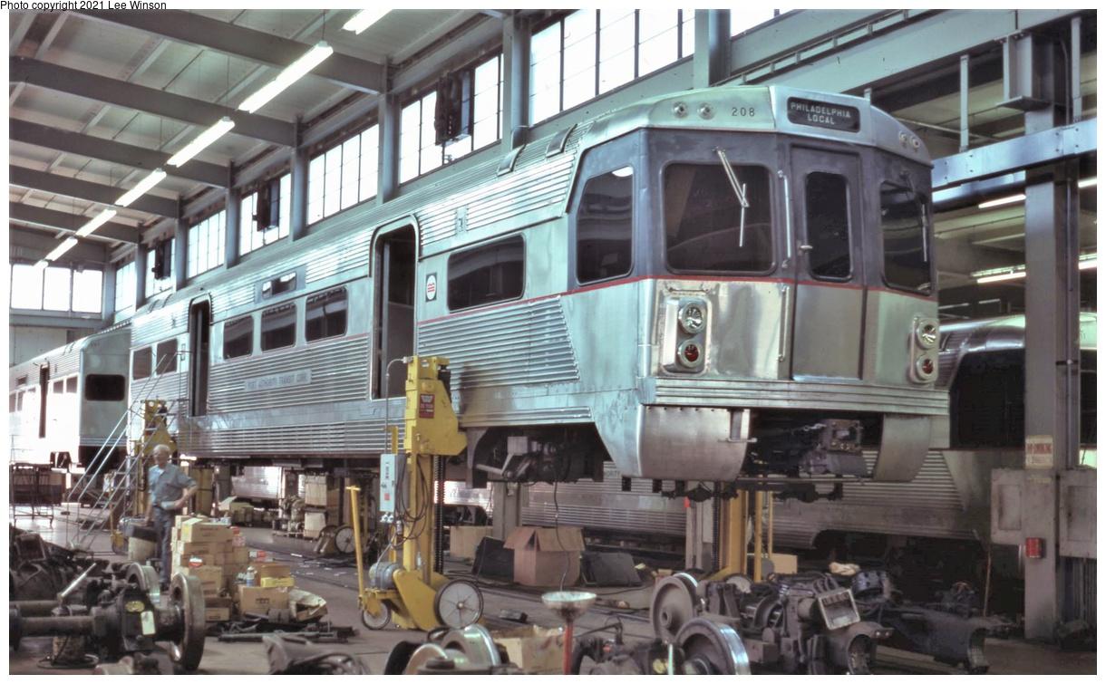 (350k, 1220x755)<br><b>Country:</b> United States<br><b>City:</b> Philadelphia, PA<br><b>System:</b> PATCO<br><b>Location:</b> Lindenwold Shops<br><b>Car:</b> PATCO 208 <br><b>Photo by:</b> Lee Winson<br><b>Date:</b> 6/1978<br><b>Notes:</b> Note plain block lettering on destination sign.<br><b>Viewed (this week/total):</b> 9 / 39