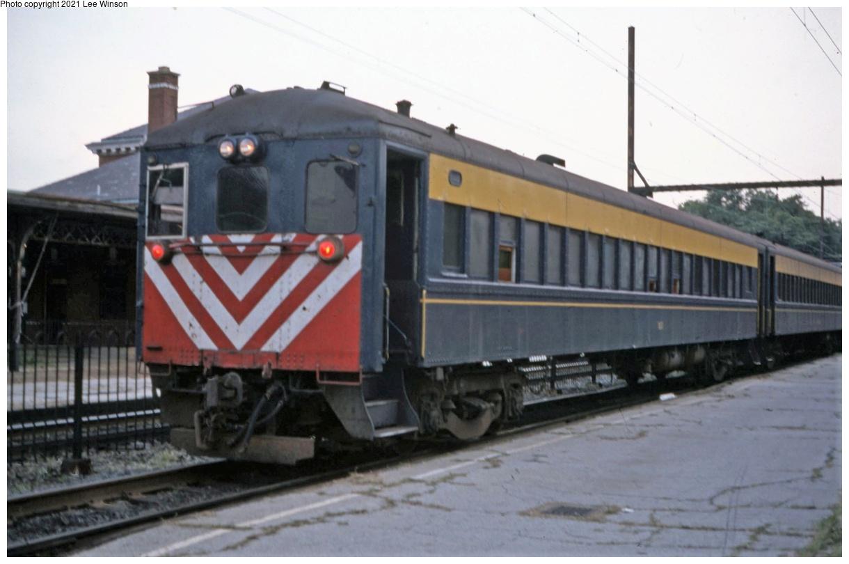 (260k, 1220x810)<br><b>Country:</b> United States<br><b>City:</b> Philadelphia, PA<br><b>System:</b> SEPTA Regional Rail<br><b>Line:</b> SEPTA R3<br><b>Location:</b> West Trenton<br><b>Photo by:</b> Lee Winson<br><b>Date:</b> 9/1981<br><b>Notes:</b> Push-pull train cab car from Newark.  Remnant after Wall Street and Crusader through RDC trains were discontinued.<br><b>Viewed (this week/total):</b> 7 / 40