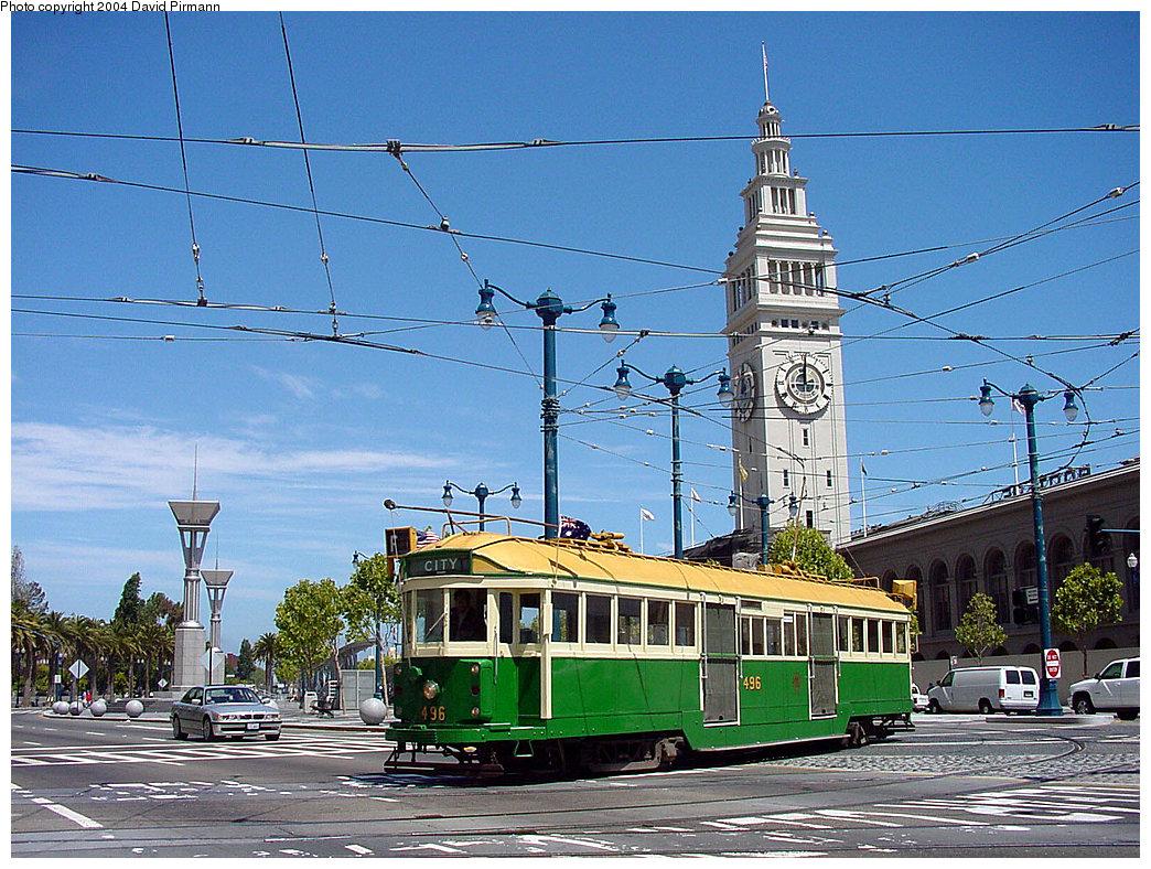 (317k, 1044x788)<br><b>Country:</b> United States<br><b>City:</b> San Francisco/Bay Area, CA<br><b>System:</b> SF MUNI<br><b>Location:</b> Don Chee Way/Justin Herman Plaza<br><b>Route:</b> F-Market<br><b>Car:</b> Melbourne W2 Class (1923-1931) 496 <br><b>Photo by:</b> David Pirmann<br><b>Date:</b> 7/5/2002<br><b>Viewed (this week/total):</b> 0 / 3076