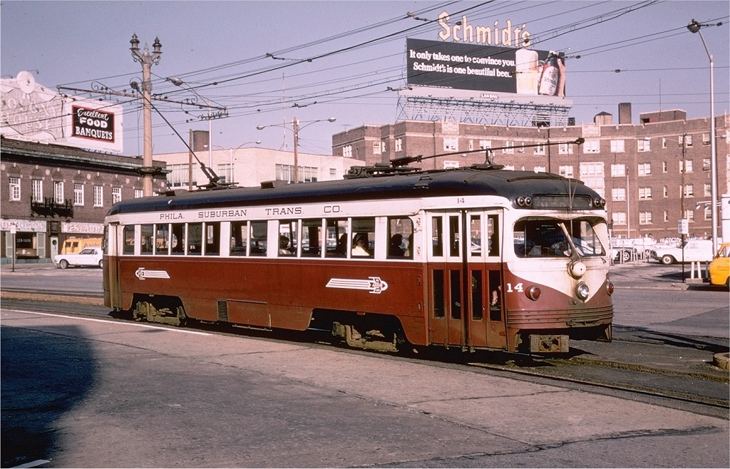 (230k, 1024x658)<br><b>Country:</b> United States<br><b>City:</b> Philadelphia, PA<br><b>System:</b> SEPTA (or Predecessor)<br><b>Line:</b> Rt. 101-Media/102-Sharon Hill<br><b>Location:</b> 69th Street<br><b>Car:</b> PSTC Streamliner (St. Louis Car Co., 1949) 14 <br><b>Photo by:</b> Joe Testagrose<br><b>Date:</b> 4/30/1968<br><b>Viewed (this week/total):</b> 0 / 15254