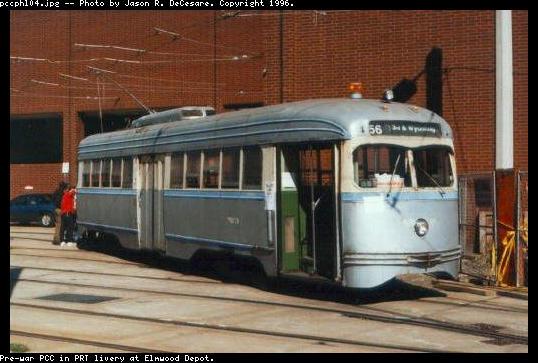 (44k, 538x363)<br><b>Country:</b> United States<br><b>City:</b> Philadelphia, PA<br><b>System:</b> SEPTA (or Predecessor)<br><b>Location:</b> Elmwood Depot<br><b>Car:</b> PTC/SEPTA Pre-war Air-car PCC (St.Louis, 1941) 2054 <br><b>Photo by:</b> Jason R. DeCesare<br><b>Notes:</b> PRT livery<br><b>Viewed (this week/total):</b> 3 / 18468