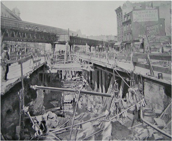 (81k, 565x465)<br><b>Country:</b> United States<br><b>City:</b> New York<br><b>System:</b> New York City Transit<br><b>Location:</b> Interborough Subway<br><b>Photo by:</b> IRT Company<br><b>Date:</b> 1904<br><b>Notes:</b> Supporting elevated railway by extension girder, 64th Street and Broadway<br><b>Viewed (this week/total):</b> 0 / 10162