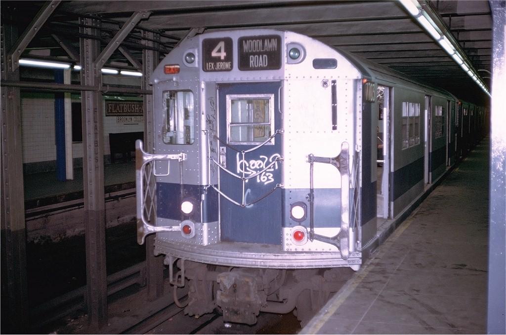 (193k, 1024x679)<br><b>Country:</b> United States<br><b>City:</b> New York<br><b>System:</b> New York City Transit<br><b>Line:</b> IRT Brooklyn Line<br><b>Location:</b> Flatbush Avenue<br><b>Route:</b> 4<br><b>Car:</b> R-22 (St. Louis, 1957-58) 7703 <br><b>Photo by:</b> Doug Grotjahn<br><b>Collection of:</b> Joe Testagrose<br><b>Date:</b> 8/6/1972<br><b>Viewed (this week/total):</b> 0 / 4578