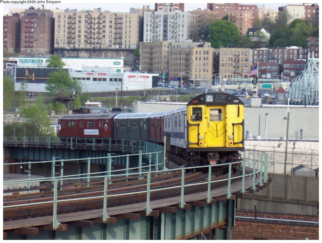 (204k, 1044x788)<br><b>Country:</b> United States<br><b>City:</b> New York<br><b>System:</b> New York City Transit<br><b>Location:</b> 207th Street Yard<br><b>Route:</b> Fan Trip<br><b>Car:</b> R-22 (St. Louis, 1957-58) 37371 <br><b>Photo by:</b> John Simpson<br><b>Date:</b> 5/1/2005<br><b>Notes:</b> Work Motor 37371 after fantrip, returning to 207th St. Yard.<br><b>Viewed (this week/total):</b> 0 / 3825