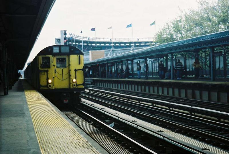 (78k, 800x540)<br><b>Country:</b> United States<br><b>City:</b> New York<br><b>System:</b> New York City Transit<br><b>Line:</b> IRT Woodlawn Line<br><b>Location:</b> 161st Street-River Avenue (Yankee Stadium)<br><b>Route:</b> Fan Trip<br><b>Car:</b> R-22 (St. Louis, 1957-58) 37371 <br><b>Photo by:</b> Gary Chatterton<br><b>Date:</b> 5/1/2005<br><b>Notes:</b> Work Motor 37371 on fantrip.<br><b>Viewed (this week/total):</b> 2 / 3956
