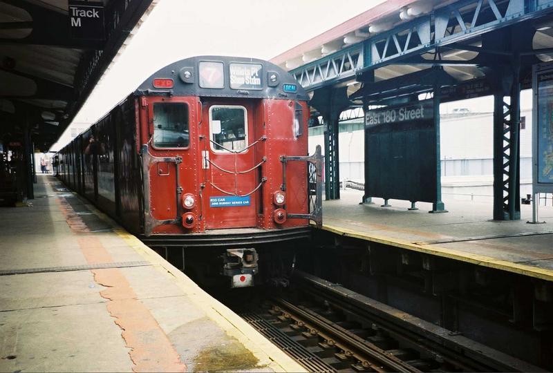 (70k, 800x540)<br><b>Country:</b> United States<br><b>City:</b> New York<br><b>System:</b> New York City Transit<br><b>Line:</b> IRT White Plains Road Line<br><b>Location:</b> East 180th Street<br><b>Route:</b> Fan Trip<br><b>Car:</b> R-33 World's Fair (St. Louis, 1963-64) 9327 <br><b>Photo by:</b> Gary Chatterton<br><b>Date:</b> 5/1/2005<br><b>Viewed (this week/total):</b> 0 / 3466
