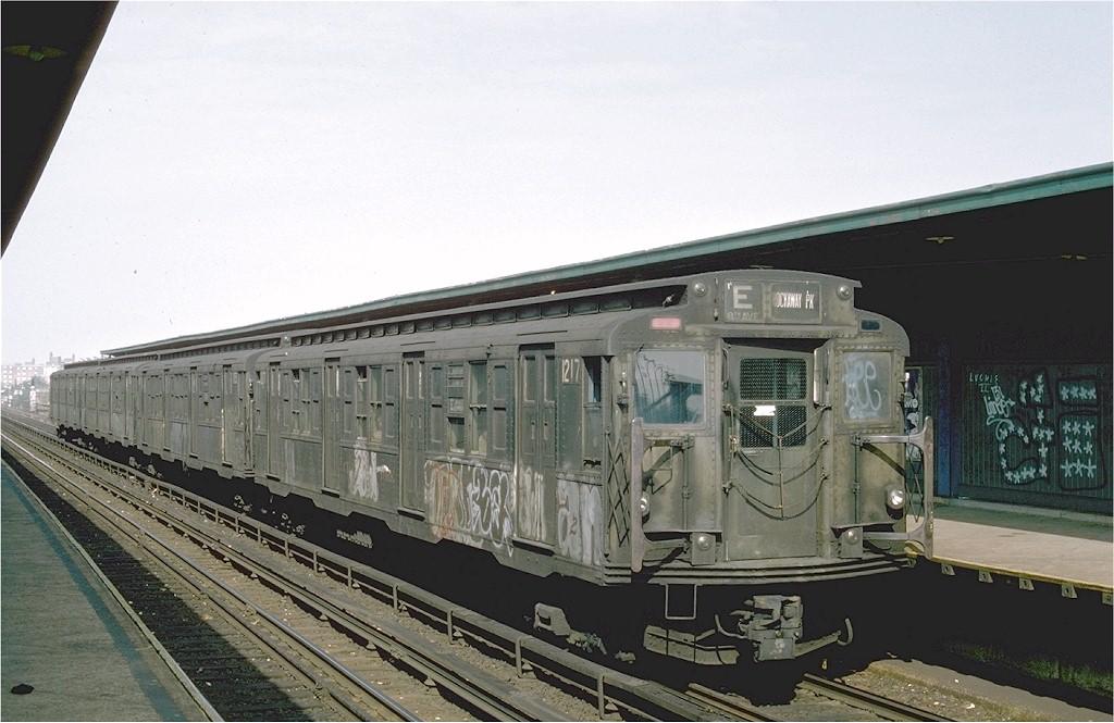 (180k, 1024x665)<br><b>Country:</b> United States<br><b>City:</b> New York<br><b>System:</b> New York City Transit<br><b>Line:</b> IND Rockaway Line<br><b>Location:</b> Beach 98th Street/Playland<br><b>Route:</b> E<br><b>Car:</b> R-6-2 (Pullman, 1936) 1217 <br><b>Photo by:</b> Ed McKernan<br><b>Collection of:</b> Joe Testagrose<br><b>Date:</b> 5/31/1976<br><b>Viewed (this week/total):</b> 4 / 6614