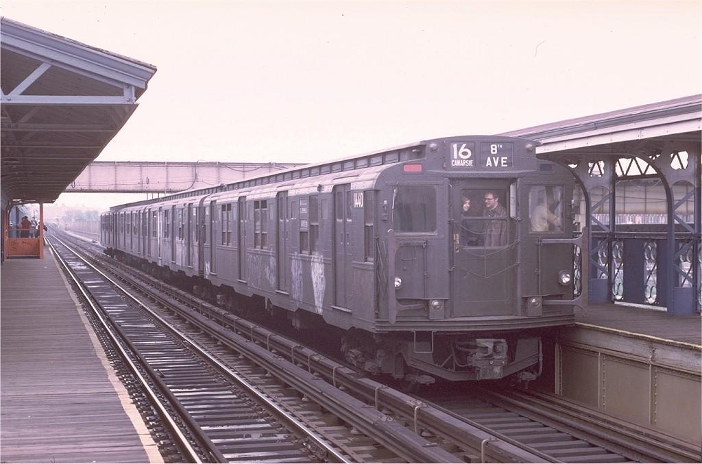 (173k, 1024x678)<br><b>Country:</b> United States<br><b>City:</b> New York<br><b>System:</b> New York City Transit<br><b>Line:</b> BMT Canarsie Line<br><b>Location:</b> Livonia Avenue<br><b>Route:</b> Fan Trip<br><b>Car:</b> R-7 (American Car & Foundry, 1937) 1440 <br><b>Photo by:</b> Joe Testagrose<br><b>Date:</b> 5/18/1975<br><b>Viewed (this week/total):</b> 3 / 4180
