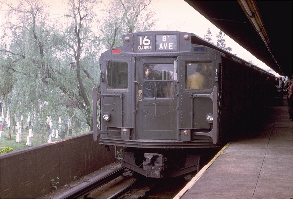 (217k, 1024x697)<br><b>Country:</b> United States<br><b>City:</b> New York<br><b>System:</b> New York City Transit<br><b>Line:</b> BMT Canarsie Line<br><b>Location:</b> Wilson Avenue<br><b>Route:</b> Fan Trip<br><b>Car:</b> R-7 (American Car & Foundry, 1937) 1440 <br><b>Photo by:</b> Joe Testagrose<br><b>Date:</b> 5/18/1975<br><b>Viewed (this week/total):</b> 0 / 5445
