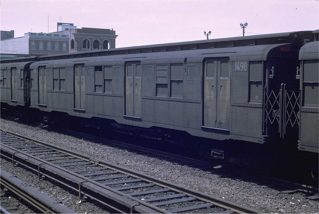 (203k, 1024x686)<br><b>Country:</b> United States<br><b>City:</b> New York<br><b>System:</b> New York City Transit<br><b>Location:</b> Rockaway Park Yard<br><b>Car:</b> R-7 (Pullman, 1937) 1498 <br><b>Photo by:</b> Joe Testagrose<br><b>Date:</b> 5/18/1969<br><b>Viewed (this week/total):</b> 0 / 3655