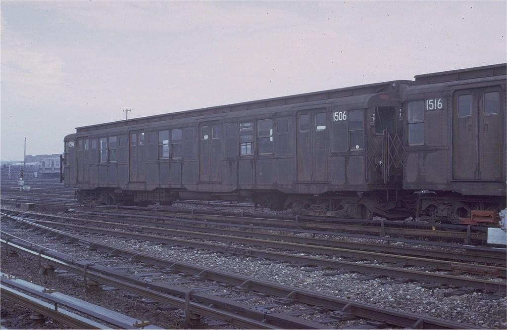 (160k, 1024x667)<br><b>Country:</b> United States<br><b>City:</b> New York<br><b>System:</b> New York City Transit<br><b>Location:</b> Coney Island Yard<br><b>Car:</b> R-7 (Pullman, 1937) 1506 <br><b>Photo by:</b> Steve Zabel<br><b>Collection of:</b> Joe Testagrose<br><b>Date:</b> 3/8/1973<br><b>Viewed (this week/total):</b> 1 / 3213