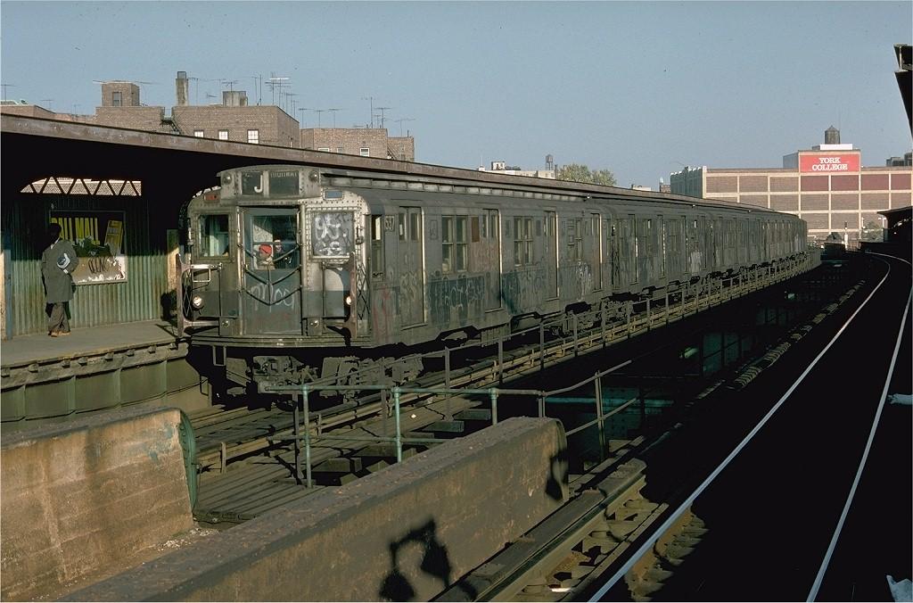 (205k, 1024x676)<br><b>Country:</b> United States<br><b>City:</b> New York<br><b>System:</b> New York City Transit<br><b>Line:</b> BMT Nassau Street-Jamaica Line<br><b>Location:</b> Sutphin Boulevard (Demolished)<br><b>Route:</b> J<br><b>Car:</b> R-7 (Pullman, 1937) 1537 <br><b>Photo by:</b> Doug Grotjahn<br><b>Collection of:</b> Joe Testagrose<br><b>Date:</b> 10/23/1976<br><b>Viewed (this week/total):</b> 1 / 5769