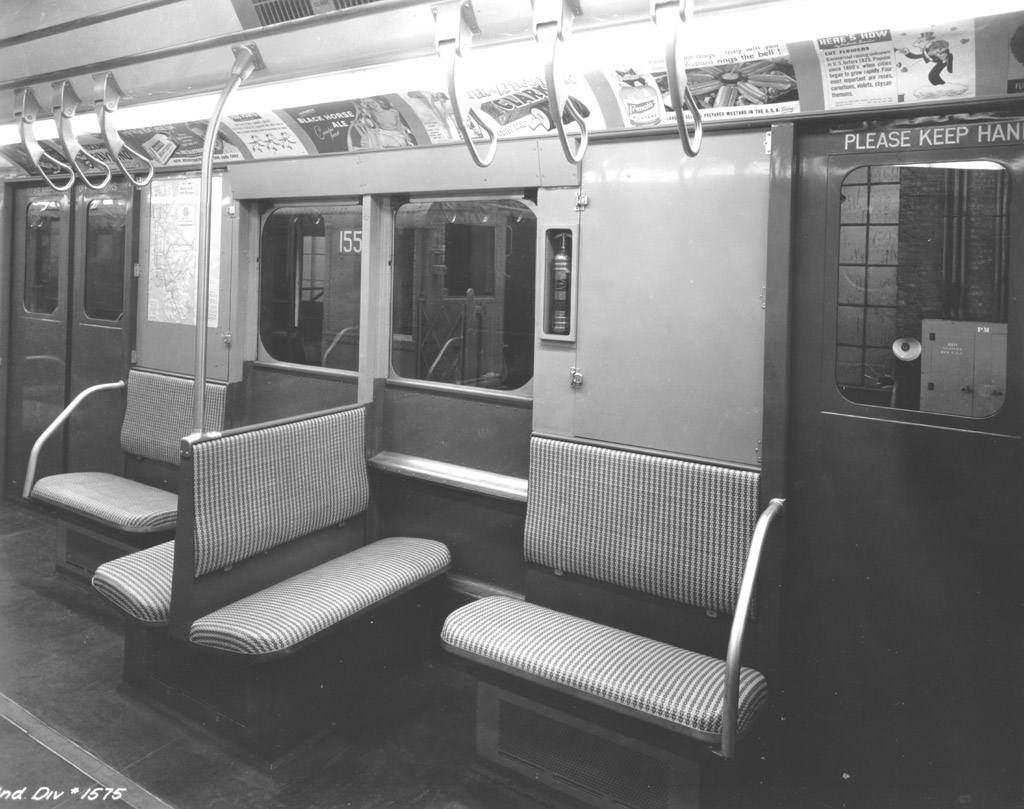 (174k, 1024x809)<br><b>Country:</b> United States<br><b>City:</b> New York<br><b>System:</b> New York City Transit<br><b>Car:</b> R-7A (Pullman, 1938) 1575 <br><b>Photo by:</b> NYCTA File Photo<br><b>Collection of:</b> Charles Fiori<br><b>Viewed (this week/total):</b> 17 / 11669