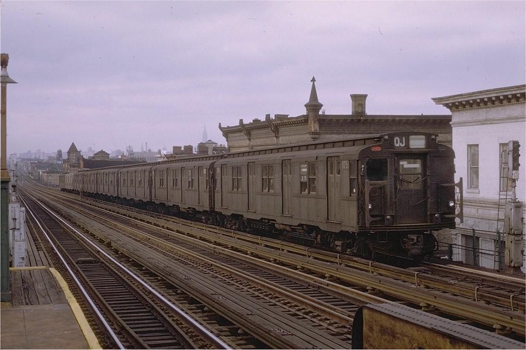 (201k, 1024x681)<br><b>Country:</b> United States<br><b>City:</b> New York<br><b>System:</b> New York City Transit<br><b>Line:</b> BMT Nassau Street-Jamaica Line<br><b>Location:</b> Chauncey Street<br><b>Route:</b> QJ<br><b>Car:</b> R-9 (Pressed Steel, 1940) 1751 <br><b>Photo by:</b> Joe Testagrose<br><b>Date:</b> 11/14/1970<br><b>Viewed (this week/total):</b> 3 / 4804