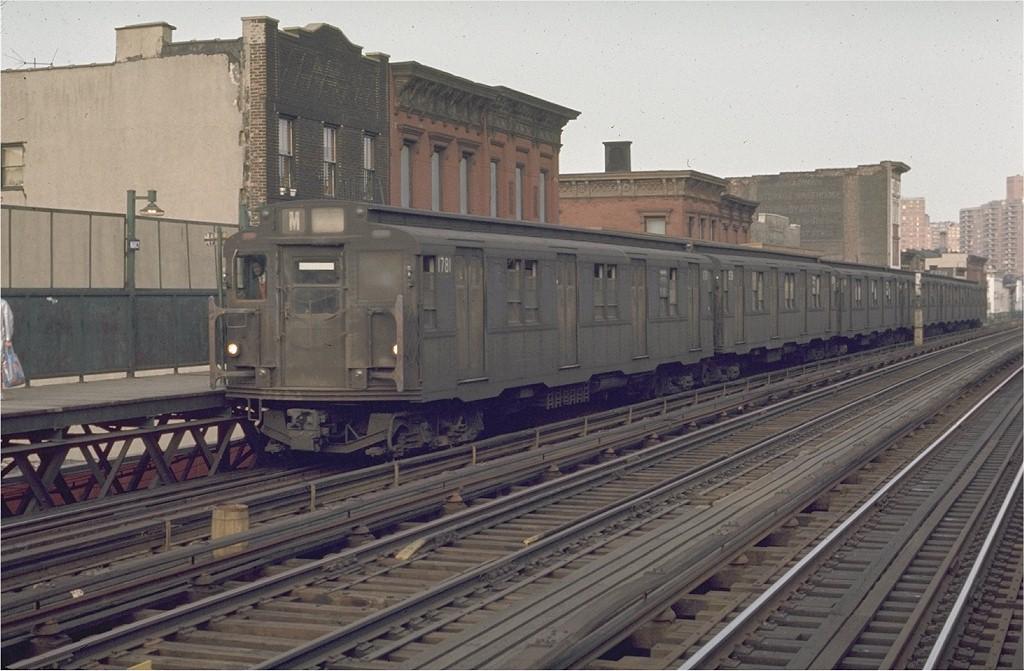 (188k, 1024x671)<br><b>Country:</b> United States<br><b>City:</b> New York<br><b>System:</b> New York City Transit<br><b>Line:</b> BMT Nassau Street-Jamaica Line<br><b>Location:</b> Marcy Avenue<br><b>Route:</b> M<br><b>Car:</b> R-9 (Pressed Steel, 1940) 1781 <br><b>Photo by:</b> Joe Testagrose<br><b>Date:</b> 6/1/1970<br><b>Viewed (this week/total):</b> 0 / 3263