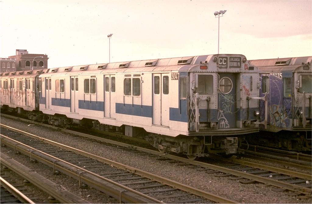 (177k, 1024x670)<br><b>Country:</b> United States<br><b>City:</b> New York<br><b>System:</b> New York City Transit<br><b>Location:</b> Rockaway Park Yard<br><b>Car:</b> R-10 (American Car & Foundry, 1948) 3047 <br><b>Collection of:</b> Joe Testagrose<br><b>Date:</b> 11/12/1977<br><b>Viewed (this week/total):</b> 9 / 6195
