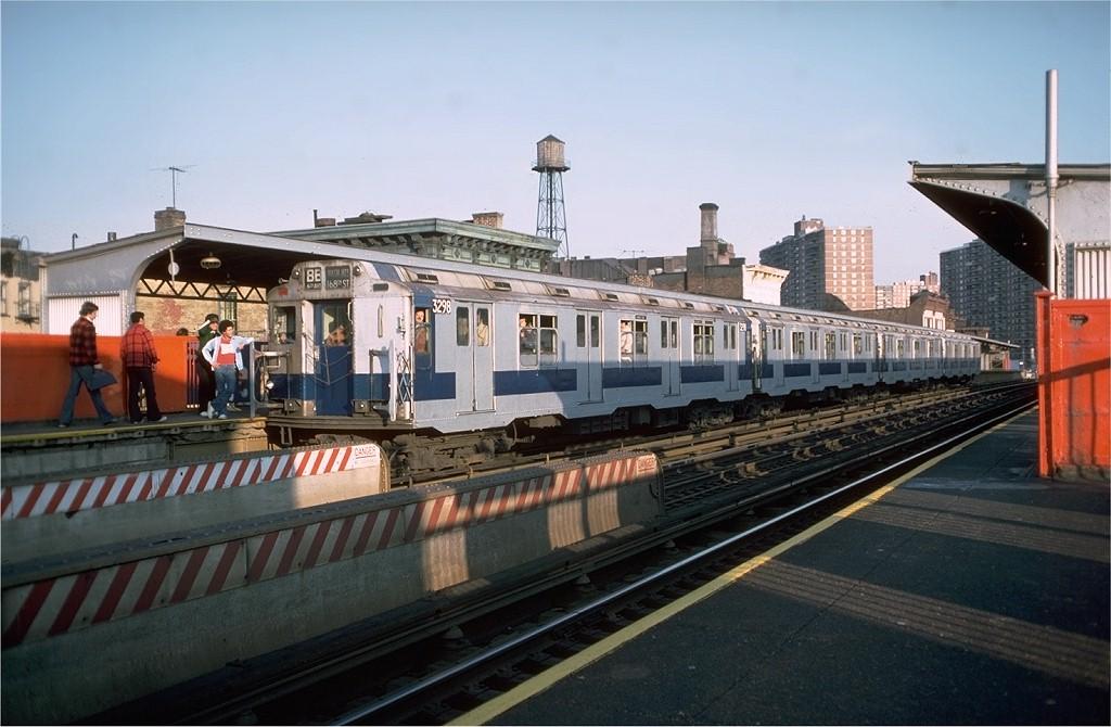 (174k, 1024x670)<br><b>Country:</b> United States<br><b>City:</b> New York<br><b>System:</b> New York City Transit<br><b>Line:</b> BMT Nassau Street-Jamaica Line<br><b>Location:</b> Hewes Street<br><b>Route:</b> Fan Trip<br><b>Car:</b> R-10 (American Car & Foundry, 1948) 3298 <br><b>Photo by:</b> Doug Grotjahn<br><b>Collection of:</b> Joe Testagrose<br><b>Date:</b> 10/23/1976<br><b>Viewed (this week/total):</b> 0 / 5211
