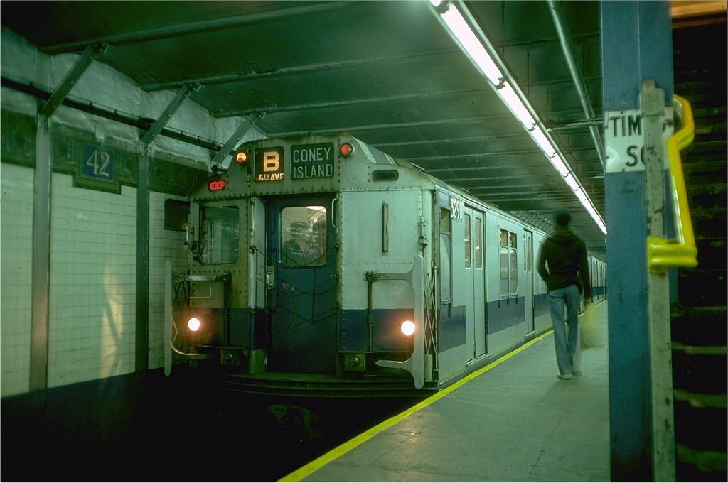 (177k, 1024x680)<br><b>Country:</b> United States<br><b>City:</b> New York<br><b>System:</b> New York City Transit<br><b>Line:</b> BMT Broadway Line<br><b>Location:</b> Times Square/42nd Street<br><b>Route:</b> Fan Trip<br><b>Car:</b> R-10 (American Car & Foundry, 1948) 3298 <br><b>Photo by:</b> Doug Grotjahn<br><b>Collection of:</b> Joe Testagrose<br><b>Date:</b> 10/23/1976<br><b>Viewed (this week/total):</b> 2 / 7124