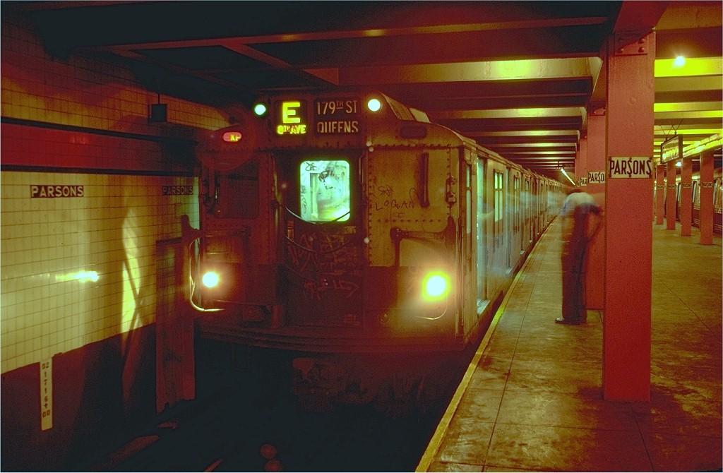 (174k, 1024x670)<br><b>Country:</b> United States<br><b>City:</b> New York<br><b>System:</b> New York City Transit<br><b>Line:</b> IND Queens Boulevard Line<br><b>Location:</b> Parsons Boulevard<br><b>Route:</b> E<br><b>Car:</b> R-10 (American Car & Foundry, 1948)  <br><b>Photo by:</b> Doug Grotjahn<br><b>Collection of:</b> Joe Testagrose<br><b>Date:</b> 8/12/1980<br><b>Viewed (this week/total):</b> 8 / 10196