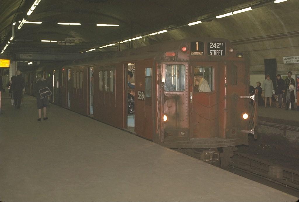 (161k, 1024x691)<br><b>Country:</b> United States<br><b>City:</b> New York<br><b>System:</b> New York City Transit<br><b>Line:</b> IRT West Side Line<br><b>Location:</b> 168th Street<br><b>Route:</b> 1<br><b>Car:</b> R-14 (American Car & Foundry, 1949) 5884 <br><b>Photo by:</b> Joe Testagrose<br><b>Date:</b> 5/4/1970<br><b>Viewed (this week/total):</b> 1 / 6916