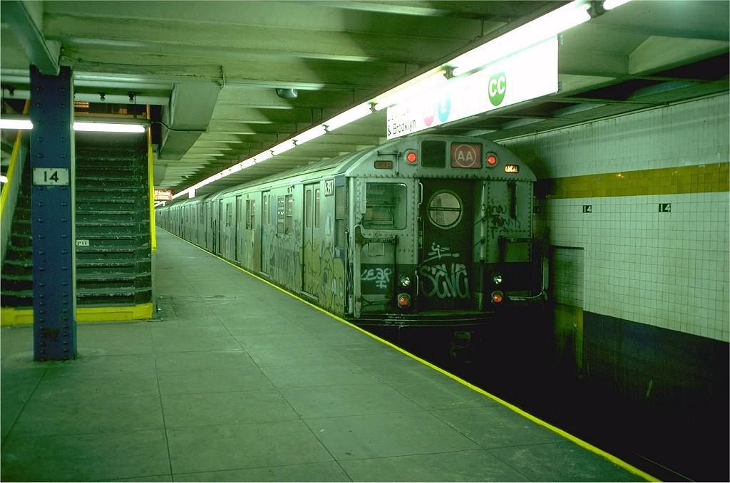 (195k, 1024x678)<br><b>Country:</b> United States<br><b>City:</b> New York<br><b>System:</b> New York City Transit<br><b>Line:</b> IND 8th Avenue Line<br><b>Location:</b> 14th Street<br><b>Route:</b> AA<br><b>Car:</b> R-16 (American Car & Foundry, 1955) 6397 <br><b>Photo by:</b> Doug Grotjahn<br><b>Collection of:</b> Joe Testagrose<br><b>Date:</b> 10/31/1976<br><b>Viewed (this week/total):</b> 0 / 6642
