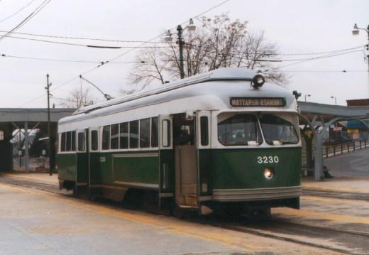 (45k, 520x359)<br><b>Country:</b> United States<br><b>City:</b> Boston, MA<br><b>System:</b> MBTA<br><b>Line:</b> MBTA Mattapan-Ashmont Line<br><b>Location:</b> Mattapan<br><b>Car:</b> MBTA/BSRy PCC Wartime (Pullman-Standard, 1945-46) 3230 <br><b>Photo by:</b> Jason R. DeCesare<br><b>Date:</b> 1996<br><b>Viewed (this week/total):</b> 2 / 16164